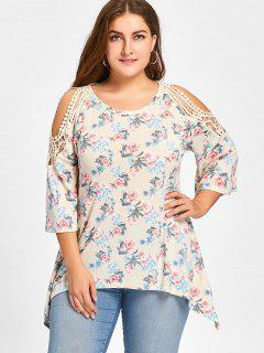 Plus Size Tiny Floral Cold Shoulder Top - Palomino Xl