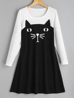 Cat Two Tone Casual Dress - Black 2xl