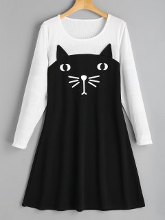 Cat Two Tone Casual Dress - Black L