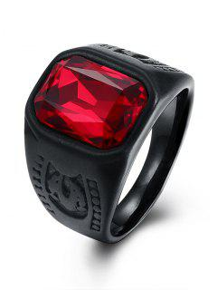 Alloy Faux Ruby Geometric Finger Ring - Black 8