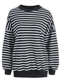 Plus Size Drop Shoulder Striped T-shirt - Black Stripe