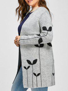 Sprout Jacquard Drop Shoulder Plus Size Cardigan - Light Gray 5xl