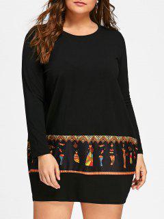 Plus Size Tribal Print Long Sleeve Baggy Dress - Black