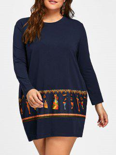 Plus Size Tribal Print Long Sleeve Baggy Dress - Royal