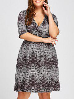 Plus Size Polka Dot Printed V Neck Skater Dress - Gray 6xl