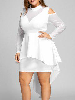 Plus Size Mesh Panel High Low Bodycon Dress - White 3xl