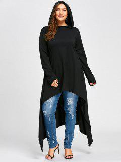 Plus Size Maxi High Low Hooded Top - Black 4xl