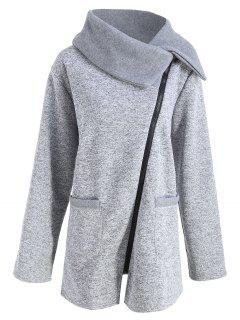 Plus Size Fleece Oblique Zipper Turn Down Hoodie - Light Grey 2xl