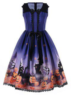 Halloween Bowknot Embellished 50s Swing Dress - Blue L