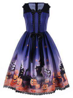 Robe Trapèze Des Années 50 Ornée De Rosettes Imprimé Halloween - Bleu 2xl