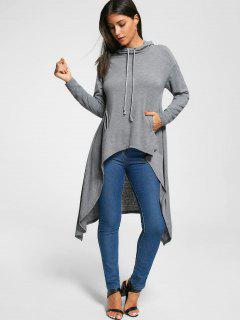 Slash Pockets Longline Dovetail Hoodie - Gray M