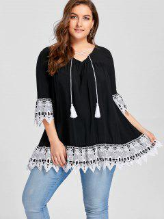 Plus Size Lace Hem Tunic Blouse - Black Xl