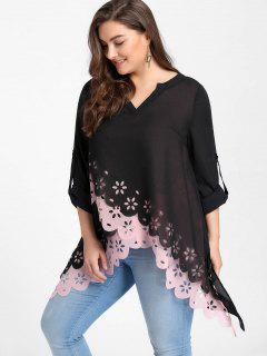 Plus Size Overlap Openwork Scalloped Blouse - Pink Xl