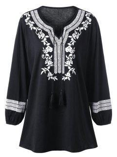 Plus Size Monochrome Bohemian Top - Black 3xl