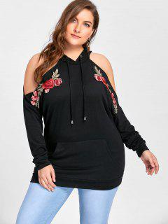 Plus Size Embroidery Cold Shoulder Hoodie - Black 5xl