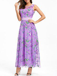 Floral Embroidered Maxi Party Evening Dress - Purple Xl