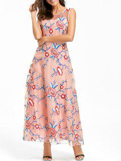 Floral Embroidered Maxi Party Evening Dress - Pink S