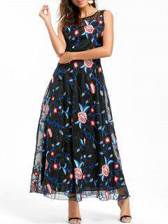 Embroidered Organza Prom Dress - Black Xl