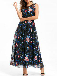 Floral Embroidered Maxi Party Evening Dress - Black S