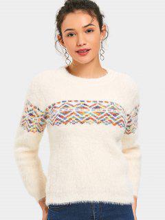 Graphic Crew Neck Mohair Sweater - Beige