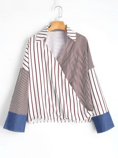 Batwing Asymmetrical Stripes Blouse - Stripe S