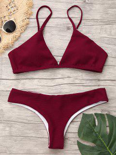 Spaghetti Strap Low Waist Bikini - Wine Red M