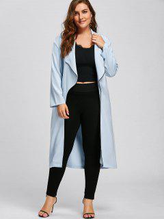 Plus Size Longline Waterfall Trench Coat - Light Blue 5xl