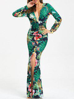 Plunging Neckline Tropical Print High Slit Maxi Dress - Green Xl