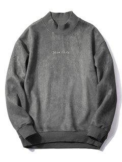 Crew Neck Graphic Print Suede Sweatshirt - Gray L