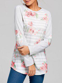 Floral Striped Raglan Sleeve Top - Light Gray L