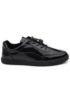 Patent Leather Lace Up Casual Shoes - Black 40
