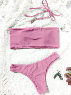 High Cut Bandeau Thong Bathing Suit - Pink M