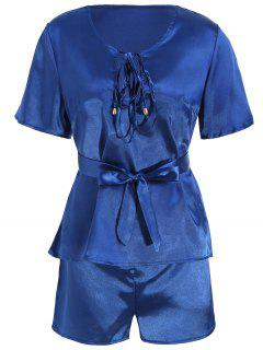 Plunge Top With Shorts Satin Pajama Suit - Deep Blue L