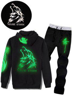 Wolf Graphic Print Luminous Hoodie And Pants Twinset - Black L