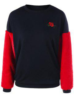 Embroidery Two Tone Fluffy Sweatshirt - Red With Black 2xl