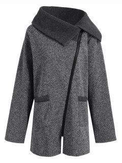 Plus Size Fleece Oblique Zipper Turn Down Hoodie - Grey And Dark Grey 5xl