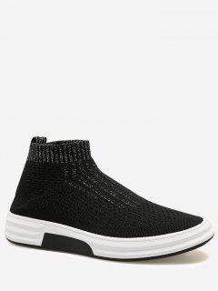 Letter Slip On Casual Shoes - Black + Silver 42