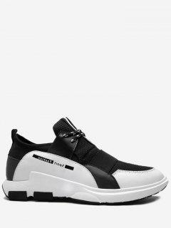 Contrasting Color Splicing Letter Sneakers - Black White 40