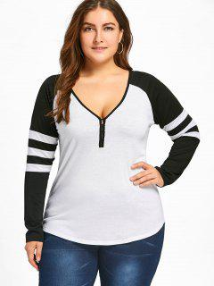 Plus Size Two Tone Stripes Raglan Sleeves T-shirt - White And Black 2xl