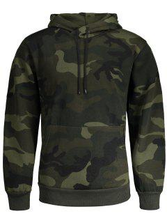 Fleece Mens Camo Hoodie - Army Green L