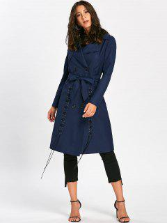 Tie Belt Lace Up Trench Coat - Purplish Blue 2xl