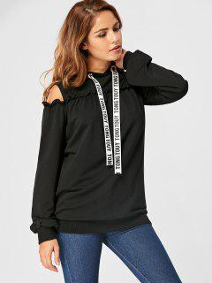 Drawstring Cold Shoulder Ruffled Tunic Hoodie - Black M