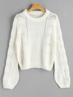 Lantern Sleeve Cut Out Pullover Sweater - White
