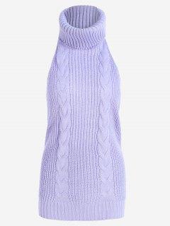Open Back Cable Knit Turtleneck Sleeveless Sweater - Light Purple