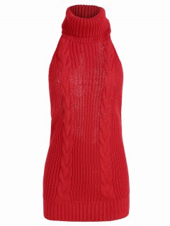 Open Back Cable Knit Turtleneck Sleeveless Sweater - Red