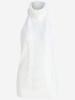 Open Back Cable Knit Turtleneck Sleeveless Sweater - White