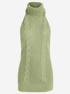 Open Back Cable Knit Turtleneck Sleeveless Sweater - Pea Green