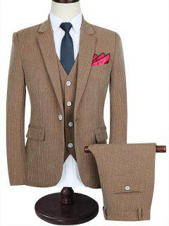Slim-fit Pinstriped Business Three Piece Suit - Brown 3xl