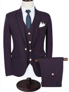 Notch Lapel 3 Piece Pinstripe Suit - Wine Red 3xl