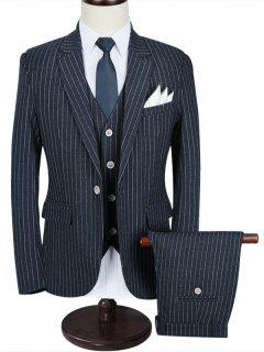 Morden Fit Stripe Three Piece Business Suit - Brown 5xl